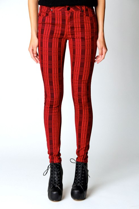 Boohoo, red check skinny jeans, was £25, now £18