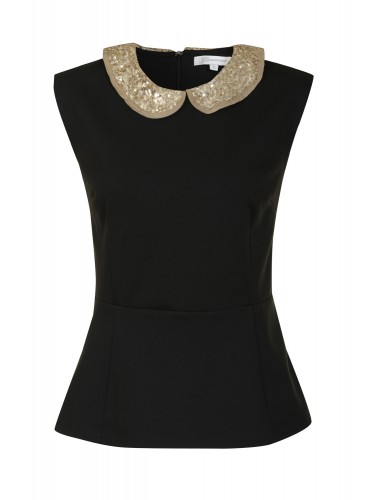 Glamorous, black peplum top with collare, was £