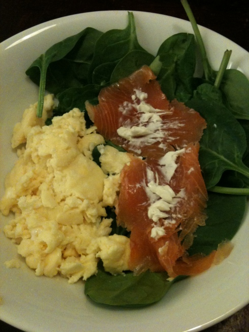 Smoked salmon, scrambled eggs and spinach is a healthy, filling tea