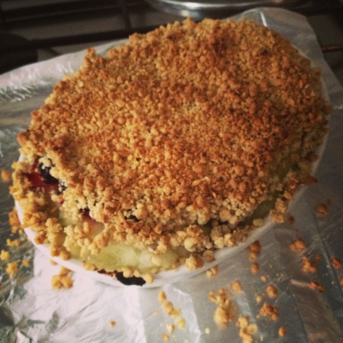 Homemade apple and raspberry crumble (this is a major cooking achievement for me!)