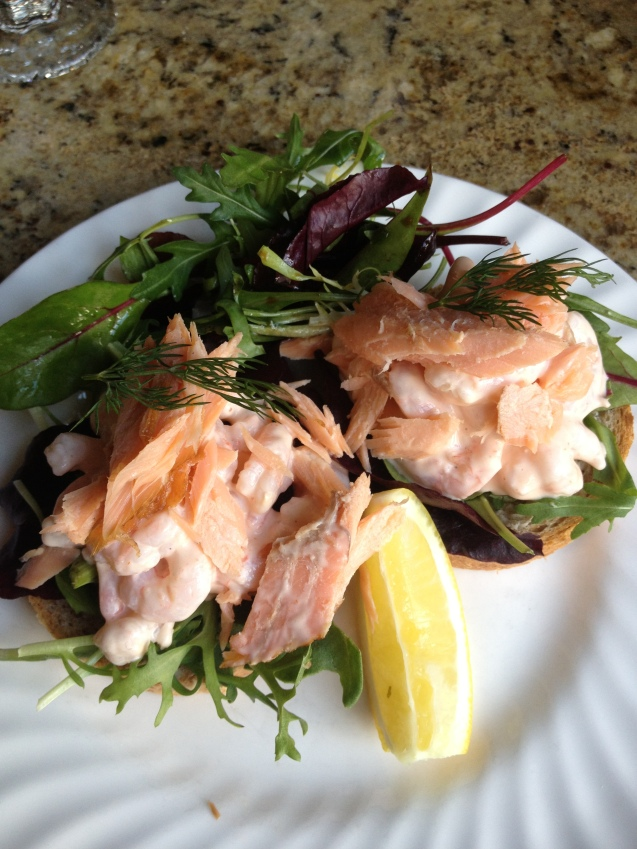 My prawn/poached salmon lunch at Betty's