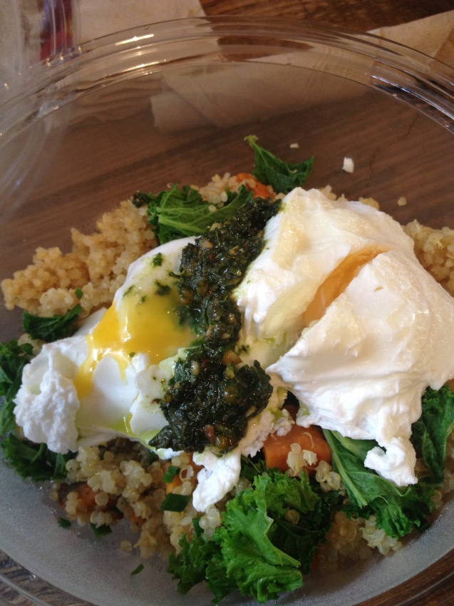 Poached eggs, kale, sweet potato, quinoa and almond pesto bowl